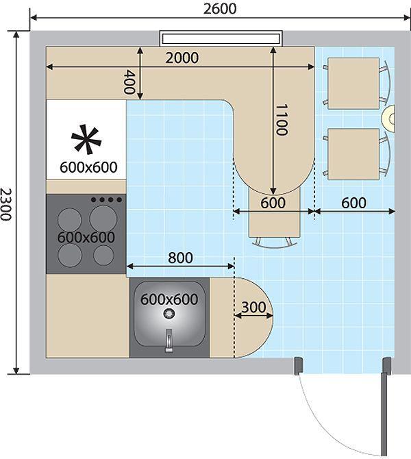 План квадратной кухни