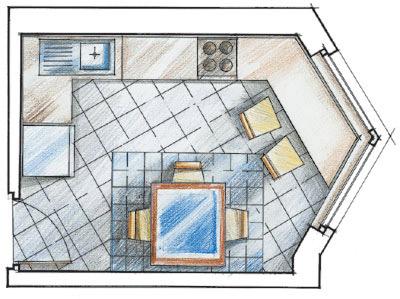 План кухни неправильной формы