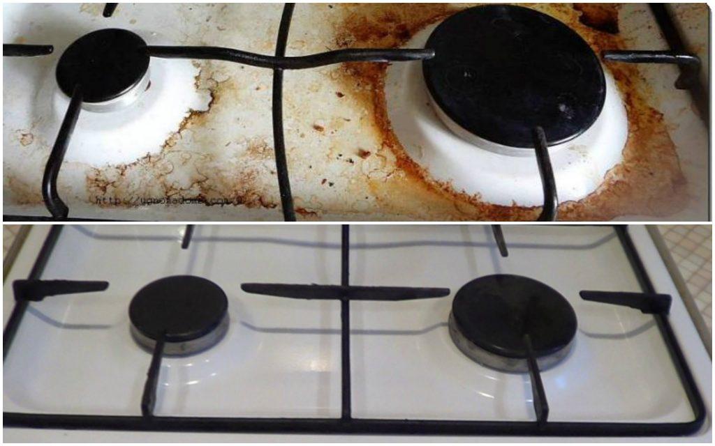 Чистка кухонной плиты - ДО и ПОСЛЕ